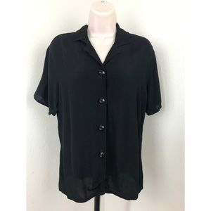 FLAX Rayon Black Button Down Shirt